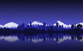 Картинка небо, вода, звезды, облака, деревья, холмы, небоскребы, Город