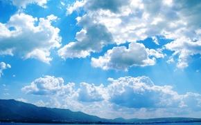 Картинка море, облака, Крым, проблески солнца, голубая синева
