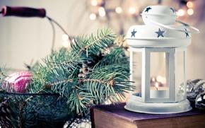 Картинка зима, новый год, рождество, свеча, фонарь