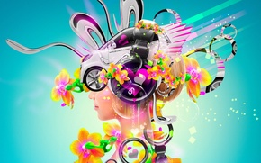 Картинка Цветы, Девушка, Авто, Музыка, Неон, Наушники, Блондинка, Яркая, Стиль, Girl, Обои, Пузырьки, Car, Fantasy, Music, ...