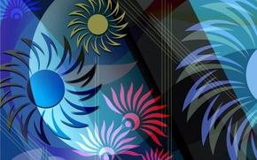 Обои краски, линии, цветок, абстракция