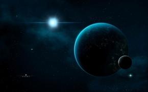 Обои космос, сияние, тьма, спутник, звёзды, Планета