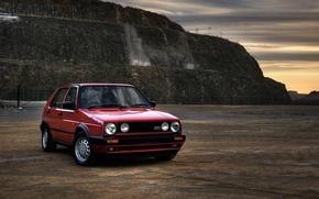 Картинка пейзаж, фото, Classic, ракурс, cars, auto, wallpapers auto, обои авто, Photography, Volkswagen Golf, Gti, Retro