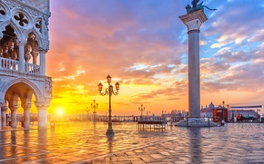 Картинка небо, вода, облака, пейзаж, закат, природа, город, Italy, Venice, Grand Canal