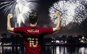 Картинка салют, форма, Russia, футболист, team, football, игрок, fireworks, player, сборная России