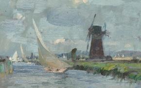 Картинка пейзаж, лодка, картина, парус, ветряная мельница, Эдуард Сиго, Breezy Day on the Ant. Norfolk