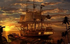 Картинка море, пейзаж, закат, вечер, Корабль, пираты