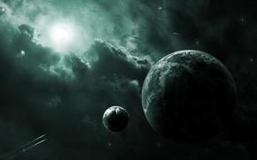 Картинка солнце, туманность, луна, планеты, спутник, корабли
