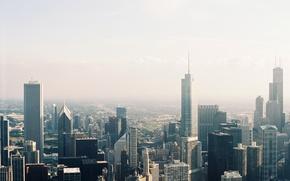 Обои город, здания, небоскребы, чикаго, мегаполис, вид сверху