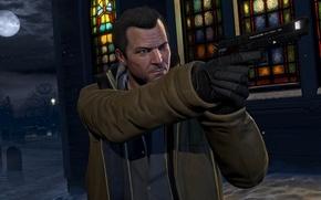 Картинка пистолет, ствол, пушка, экшен, Майкл, Grand Theft Auto V, gta5