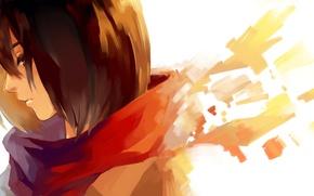 Картинка Микаса Аккерман, девушка, шарф, арт, Mikasa Ackerman, профиль