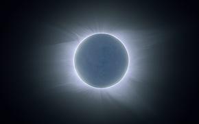 Картинка Солнце, корона, Луна, затмение