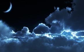 Обои лунный свет, ночь, moonrise, облака