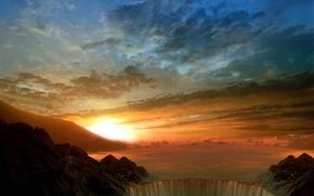 Картинка солнце, облака, водопад