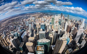 Картинка город, океан, берег, высота, небоскребы, Чикаго, Иллиноис, панорамма