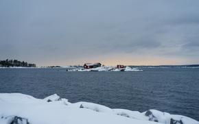 Картинка sea, winter, snow, houses, horizon, lighthouse, islet