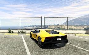 Картинка небо, асфальт, жёлтый, забор, Lamborghini, сзади, парковка, Aventador, 2013, GTA 5, LP720-4