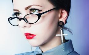 Картинка девушка, портрет, очки