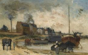 Картинка пейзаж, лодка, дым, картина, труба, фабрика, Поль Гоген, The Factory on the Quay of Grenelle