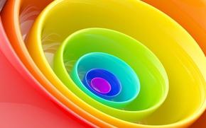 Картинка обои, цвет, круг, радуга, кольцо, тарелка, чашка, посуда, миска
