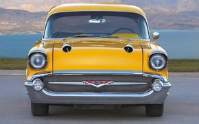 Картинка ретро, Желтый, Chevrolet, Машина, Капот, Шевроле, Фары, Передок, project X