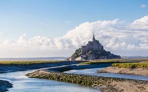 Картинка море, небо, облака, замок, Франция, Нормандия, Мон-Сен-Мишель