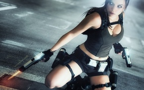 Картинка взгляд, девушка, лицо, оружие, волосы, пистолеты, игра, майка, рюкзак, Lara Croft, Tomb raider, Charly Brusseau