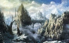 Картинка пейзаж, мост, замок, арт, крепость, tomaknights, горы. облака