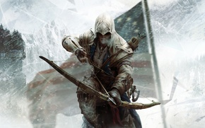 Картинка луг, ассасин, Assassin's Creed III, Радунхагейду, Кредо Убийцы 3, индеец-полукровка, Коннор Кенуэй