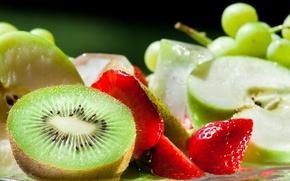 Обои нямка, вкусно, яблоко, вирноград, киви, еда, клубника