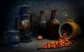 Картинка лампа, пыль, бутылки, орехи, россыпь, The last photo, A pot of gold