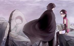 Картинка развалины, герб, naruto, art, Sasuke Uchiha, Uchiha clan, Sarada Uchiha, by ビキニ