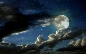 Картинка звезды, облака, ночь, луна, moon, night, clouds, stars, moonlight