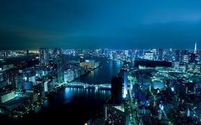 Картинка ночь, мост, огни, река, япония, здания