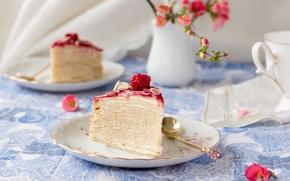 Картинка ягоды, малина, еда, сливки, торт, крем, сладкое, тесто, слоеное