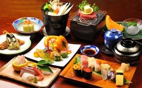 Обои блюда, мороженое, стол, овощи, японская еда, соус, роллы, морепродукты, грибы, фондю