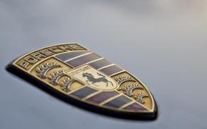 Картинка лошадь, логотип, Porsche, капот, щит