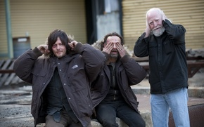 Обои Scott Wilson, Andrew Lincoln, актеры, The Walking Dead, Norman Reedus
