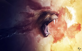 Обои космос, лев, пасть, созвездие