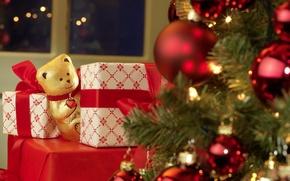 Картинка игрушки, елка, новый год, шоколад, мишка, подарки