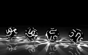 Картинка поверхность, свет, серый, чёрный, шары, узоры, чёрно - белые