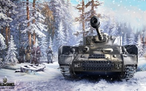 Картинка зима, лес, снег, рисунок, арт, танк, немцы, немецкий, средний, World of Tanks, Nikita Bolyakov, Pz.Kpfw.IV …