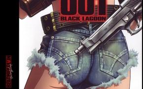 Картинка пистолет, зад, Black Lagoon, Revy, ствол, кобура, крутая, Пираты Черной лагуны, by Hiroe Rei