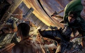 Картинка город, аниме, арт, парень, вторжение гигантов, атака титанов, Shingeki no Kyojin, Леви