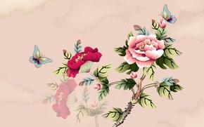 Картинка цветы, бабочка, ветка, арт, акварель