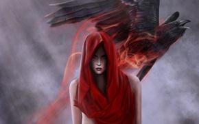 Картинка девушка, красный, птица, магия, арт, капюшон, ворон