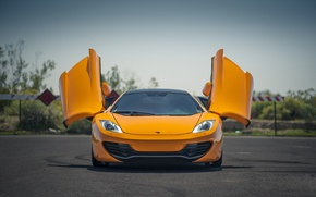 Картинка оранжевый, McLaren, передок, orange, макларен, дверцы, Mp4-12C