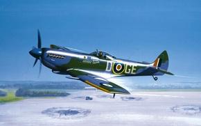 Картинка war, art, airplane, painting, Supermarine Spitfire, ww2