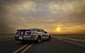 Картинка небо, солнце, закат, Mustang, Ford, Shelby, GT500, мустанг, серебристый, мускул кар, форд, шелби, muscle car, ...