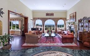 Картинка дизайн, дом, стол, диван, мебель, вилла, интерьер, картина, окно, камин, гостиная
